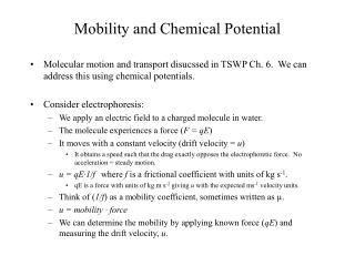 Mobility and Chemical Potential