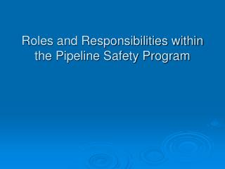 Roles and Responsibilities within the Pipeline Safety Program