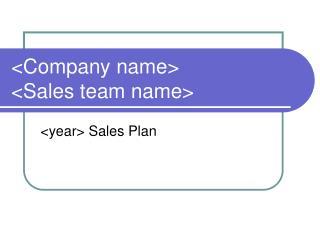 <Company name> <Sales team name>