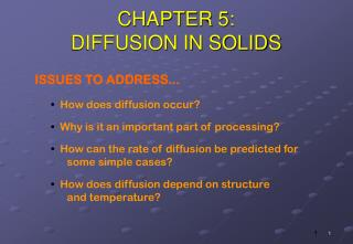 CHAPTER 5: DIFFUSION IN SOLIDS