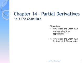 Chapter 14 – Partial Derivatives