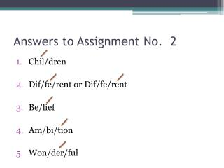 Answers to Assignment No.  2