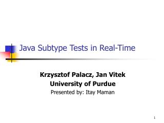 Java Subtype Tests in Real-Time