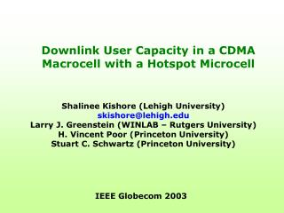 Downlink User Capacity in a CDMA Macrocell with a Hotspot Microcell