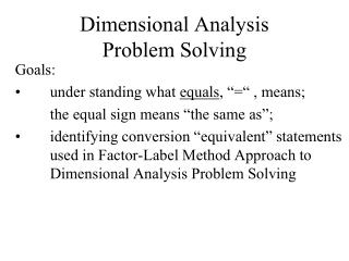 Dimensional Analysis  Problem Solving