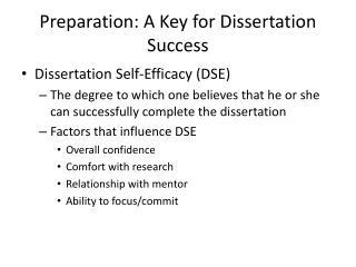 Preparation: A Key for Dissertation Success