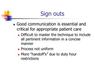 Sign outs