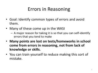 Errors in Reasoning