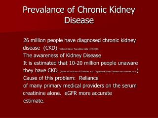 Prevalance of Chronic Kidney Disease