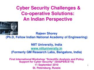 Cyber Security Challenges  Co-operative Solutions: