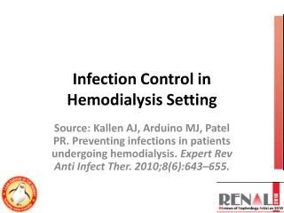 Infection Control in Hemodialysis Setting