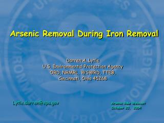 Arsenic Removal During Iron Removal