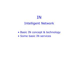 IN Intelligent Network