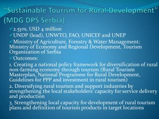 """Sustainable Tourism for Rural Development"" (MDG DPS Serbia)"