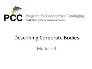 Describing Corporate Bodies