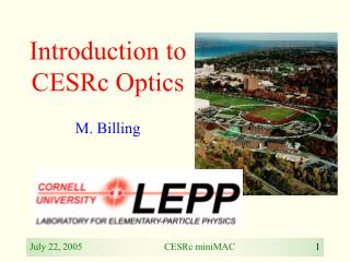 Introduction to CESRc Optics