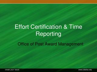 Effort Certification & Time Reporting