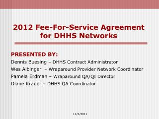 2012 Fee-For-Service Agreement for DHHS Networks