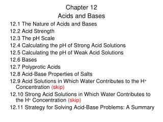 Chapter 12 Acids and Bases