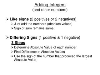 Adding Integers (and other numbers)
