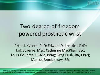 Two-degree-of-freedom powered prosthetic wrist