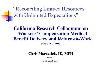 """Reconciling Limited Resources  with Unlimited Expectations"""