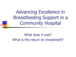 Advancing Excellence in Breastfeeding Support in a Community Hospital