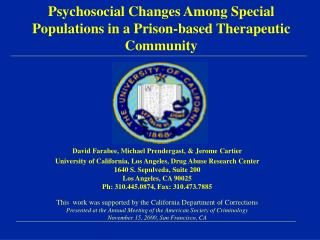 Psychosocial Changes Among Special Populations in a Prison-based Therapeutic Community