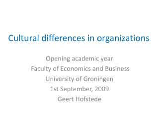 Cultural differences in organizations