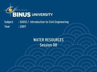 WATER RESOURCES  Session 08