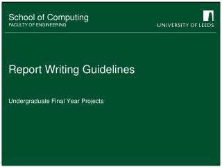 Report  Writing Guidelines