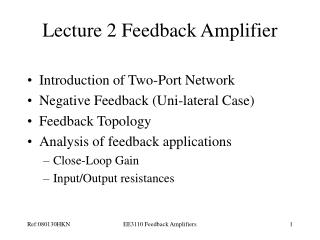 Lecture 2 Feedback Amplifier