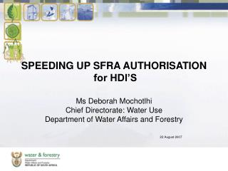 SPEEDING UP SFRA AUTHORISATION   for HDI'S
