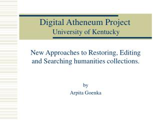 Digital Atheneum Project University of Kentucky