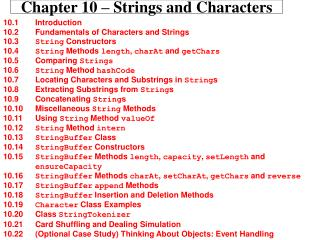 Chapter 10 – Strings and Characters