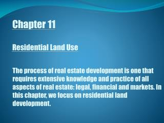 Chapter 11 Residential Land Use