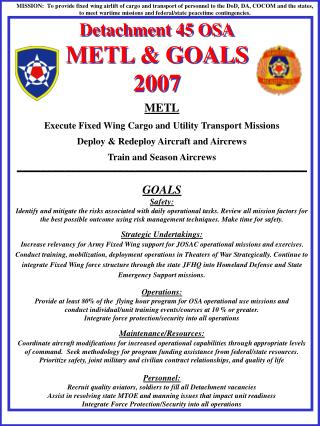 Detachment 45 OSA METL & GOALS 2007