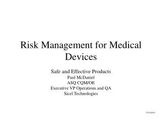 Risk Management for Medical Devices
