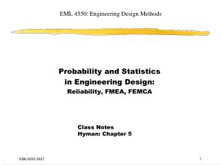 EML 4550: Engineering Design Methods