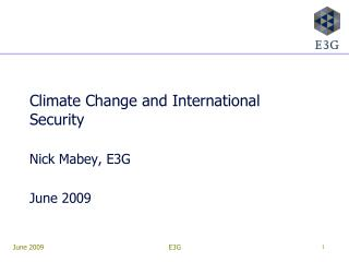 Climate Change and International Security