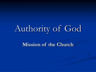 Authority of God