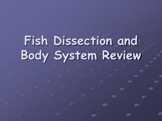 Fish Dissection and Body System Review