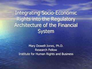 Integrating Socio-Economic Rights into the Regulatory Architecture of the Financial System