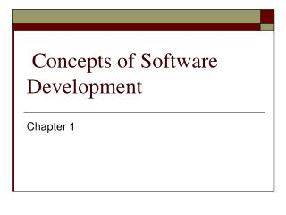 Concepts of Software Development