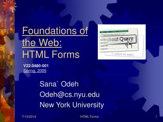Foundations of the Web: HTML Forms