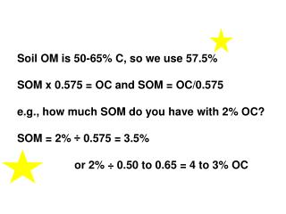 Soil OM is 50-65% C, so we use 57.5% SOM x 0.575 = OC and SOM = OC/0.575 e.g., how much SOM do you have with 2% OC? SOM