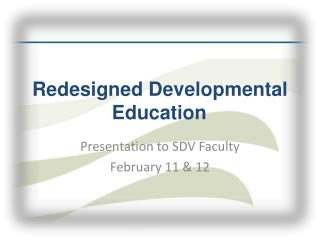 Redesigned Developmental Education