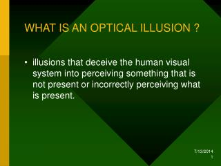 WHAT IS AN OPTICAL ILLUSION ?