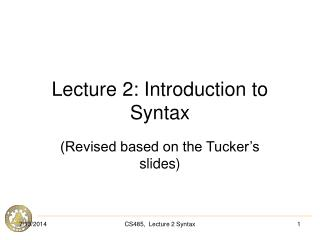 Lecture 2: Introduction to Syntax