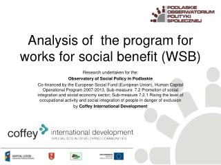 Ana lysis  of  the program for  works  for  social  benefit  ( WSB )